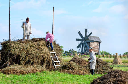 fruition: KIZHI, RUSSIA -  AUG 07, 2015: People in national costumes work in the field on the island Kizhi, Rusia Editorial