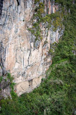 machu picchu: Inca bridge in Machu Picchu in Peru.