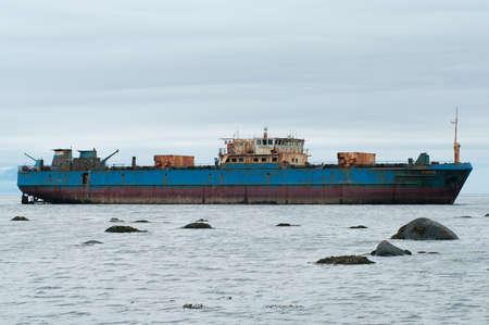 aground: Abandoned transport refrigerator Sungach run aground during a storm near the island Paramushir