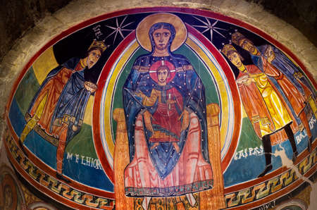 TAULL, SPAIN - JULY 18, 2014: Interior church of Santa Maria de Taull, Vall de Boi, Alta Ribagorca.