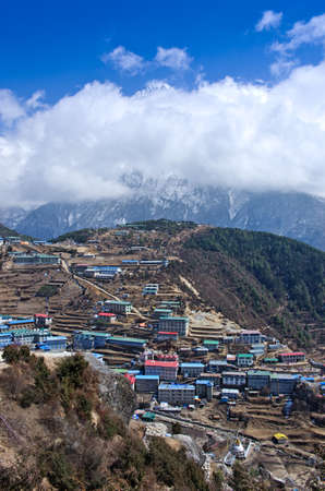 bazar: View on Namche Bazar in  Khumbu district, Himalayas, Nepal