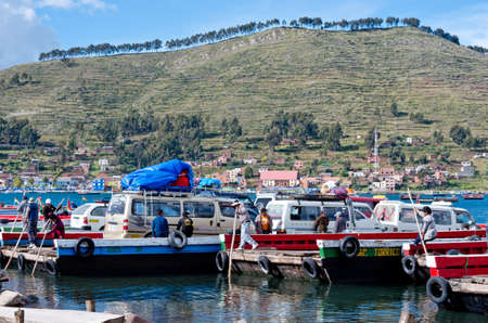 pablo: TITICACA LAKE, BOLIVIA - APR 05, 2015: Ferry service on lake Titicaca between the towns of San Pedro de Tiquina and San Pablo de Tiquina.