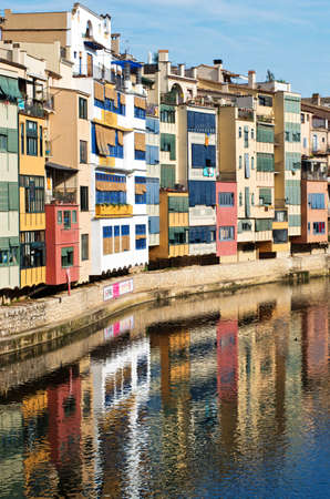 catalunia: GIRONA, SPAIN - JULY 25: View of Girona -  historical jewish quarter on July 25, 2014 in Girona, Spain. Editorial