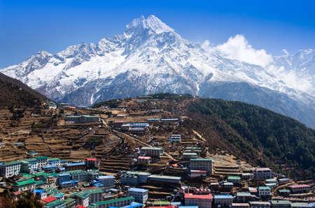 View on Namche Bazar in Khumbu district, Himalayas, Nepal