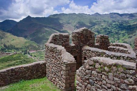 pisac: Pisac - Inca ruins in the sacred valley in the Peruvian Andes, Peru