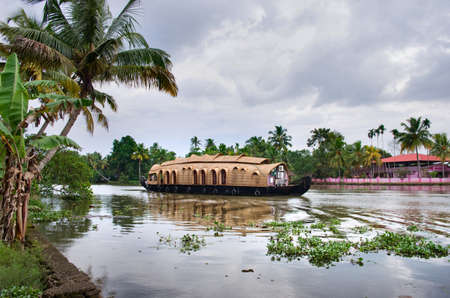 alappuzha: Kerala, India - October 18: Traditional Indian houseboat near Alleppey  on Kerala backwaters on October 18, 2014.
