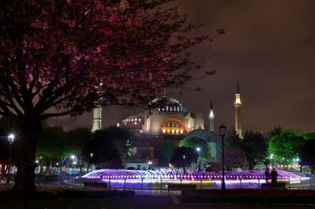 constantinople ancient: View of theHagia Sofia or Ayasofya at night in Istanbul, Turkey Stock Photo