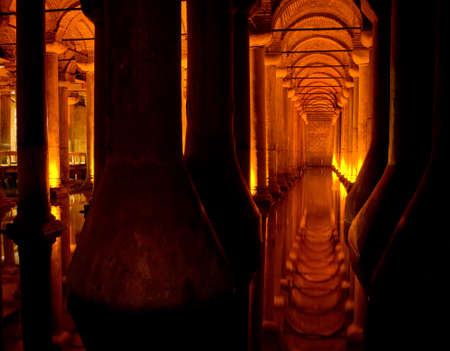 constantinople ancient: The Basilica Cistern the largest and best preserved ancient underground reservoirs of Constantinople. Located in the historic center of Istanbul, Turkey. Editorial