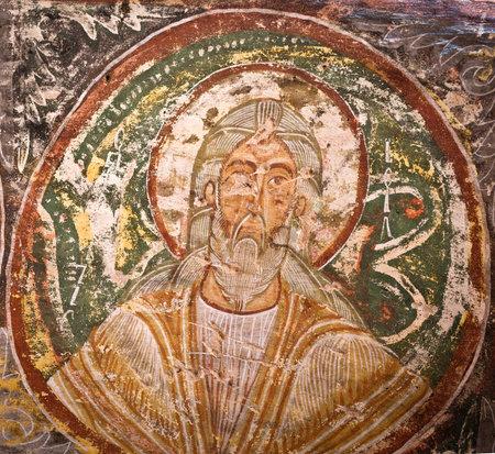 ortodox: Cappadocia , Turkey - April 29, 2016: Ayvali Church   with early ortodox christian fresco in the Rose Valley in Cappadocia, Central Anatolia, Turkey, UNESCO World Heritage Site Editorial