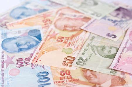 tl: Turkish lira banknotes. close up money background