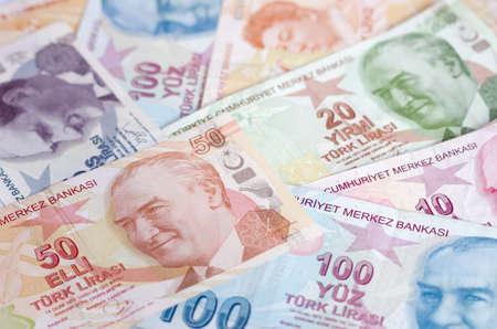 turkish lira: Turkish lira banknotes. close up money background