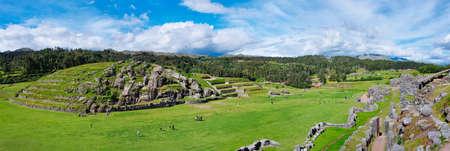 inca ruins: Panorama of Sacsayhuaman, Inca ruins in Cusco. Peru Stock Photo