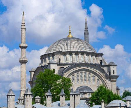 fatih: The Nuruosmaniye Mosque is an Ottoman mosque in  Fatih district in Istanbul, Turkey. Stock Photo