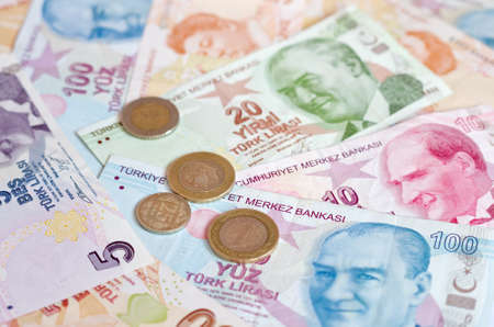 turkish lira: Turkish lira banknotes. close up money background