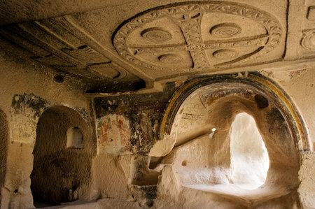 ortodox: Cappadocia , Turkey - April 29, 2016: Church of Three Crosses  with early ortodox christian fresco in the Rose Valley in Cappadocia, Central Anatolia, Turkey, UNESCO World Heritage Site Editorial