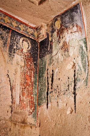 ortodox: Cappadocia , Turkey - April 29, 2016: Church with early ortodox christian fresco in the Rose Valley in Cappadocia.Hacl? Kilisesi (Church with Cross), Turkey, UNESCO World Heritage Site Stock Photo