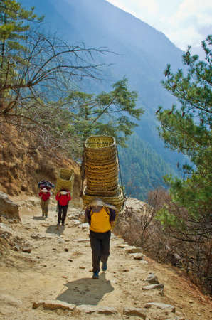 sherpa: Sagarmatha National Park, Nepal -Circa March, 2014: Porters carry heavy load in the Himalaya in Sagarmatha National Park, Nepal