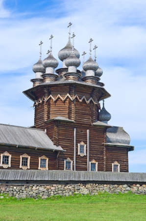 Wooden church on island Kizhi. Lake Onega, Russia