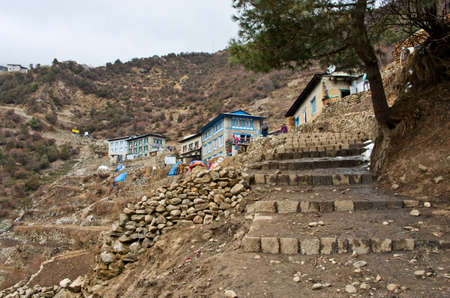 bazar: View on Namche Bazar. Khumbu district in Himalayas, Nepal
