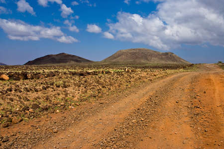 The road in the African savannah Stock Photo