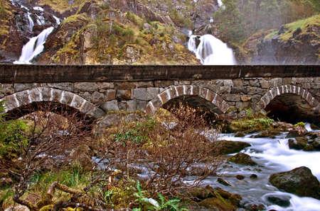 hardanger: waterfall Latefoss or Latefossen waterfall - one of the biggest waterfalls in Norway.