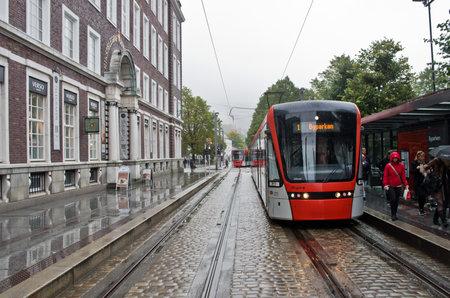 Bergen, Norway - September 25: Modern tram on the street in Bergen on Sept 25, 2014, Norway Editorial