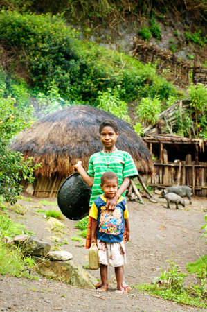 Papua Province, Indonesia - Circa January 2011: Unidentified children on the street in Wamena, on New Guinea Island, Indonesia . Editorial