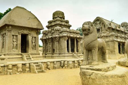 mamallapuram: Five rathas complex with  in Mamallapuram, Tamil Nadu, India . Stock Photo