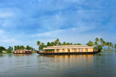 Traditional Indian houseboat near Alleppey on Kerala backwaters