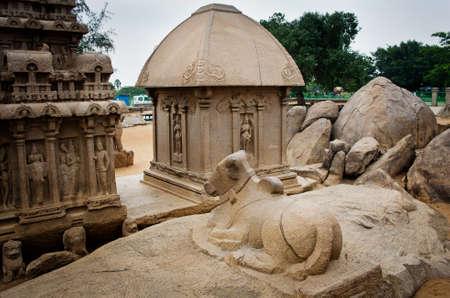 Five rathas complex with  in Mamallapuram, Tamil Nadu, India . Stock Photo