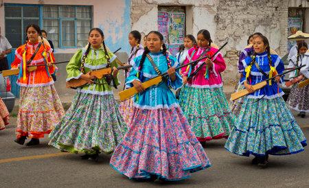 Tamazulapam del Progreso, Mexico - 20 November, 2016: Children on Parade on Mexico Revolution Day.
