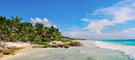 Tropical Sandy Beach on Caribbean Sea. Yucatan, Mexico. Stock Photo