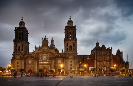 Mexico City, Mexico - November 15, 2016: Cathedral on Zocalo at the dusk, Mexico City, Mexico