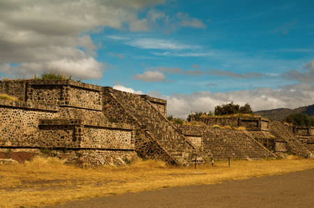 Beautiful Platforms near Death Road in Teotihuacan, Mexico Stock Photo