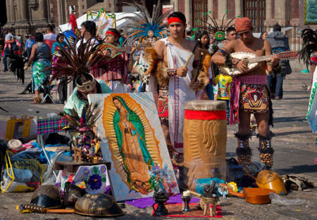 our: Mexico City, Mexico - December 12, 2016: Celebration of the Day of the Virgin of Guadalupe with a mass ceremony in her honor on square of Basilica of Our Lady of Guadalupe