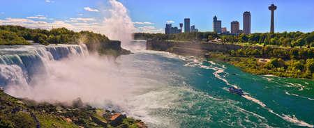 Panoramic aerial view Niagara waterfall looking from American side. Niagara Falls. USA Stock Photo