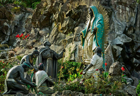 Mexico City, Mexico - November 30, 2016: Monument La Ofrenda in Tepeyac Garden, work of Aurelio G.D. Mendoza - The Virgin Of Guadalupe receives gifts from the native people of Mexico. Editorial