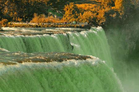 View of Niagara waterfall. Fall. Looking from American side. Niagara Falls. USA. Stock Photo