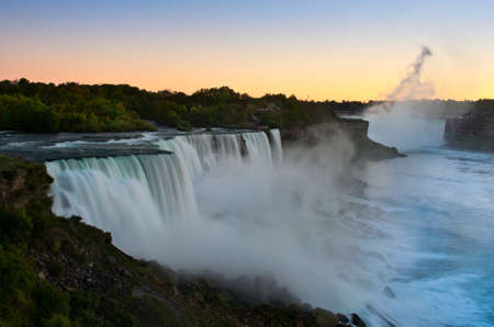 View Niagara waterfall at sunset. Looking from American side. Niagara Falls. USA.