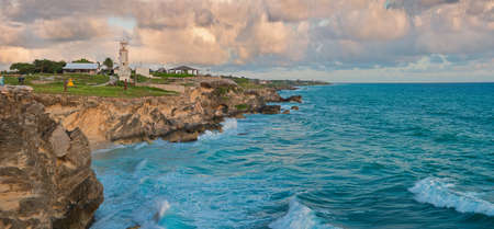 Beautiful rocks at sunrise in Caribbean coast, Isla Mujeres, Mexico.