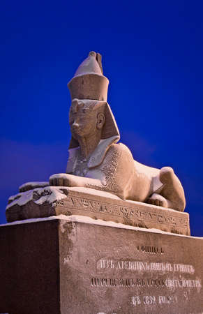 Saint Petersburg, Russia - Jan 16, 2016: Sculpture of a authentic antique sphinx on quay of the Neva river imported from Egypt.