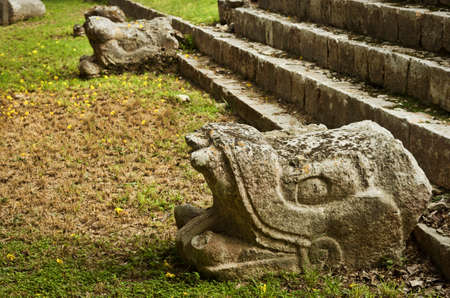 Snake  Sculpture of Ruins of Chichen Itza  pre-Columbian  Mayan  city, Mexico