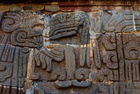 morelos: Temple of the Feathered Serpent in Xochicalco. Pre-Columbian archaeological site in Mexico.