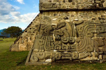 pre: Temple of the Feathered Serpent in Xochicalco. Pre-Columbian archaeological site in Mexico.