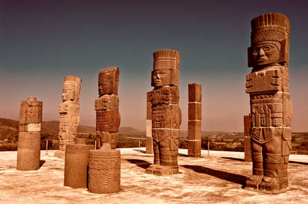 archaeological sites: Toltec Warriors columns on Pyramid of Quetzalcoatl (Morning Star) in Tula - Mesoamerican archaeological site, Mexico