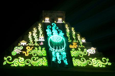 Chichen Itza, Mexico - October 25, 2016 : Light show on mayan pyramid in Chichen Itza, Mexico,
