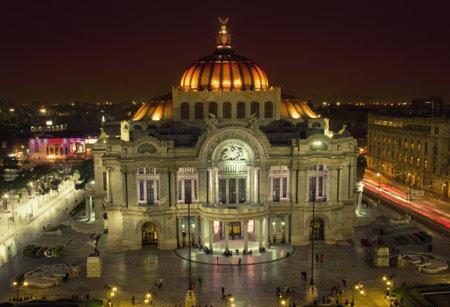 colonial church: Mexico City, Mexico - November 14, 2016: Beautiful top view of Bellas artes at night, Mexico City, Mexico