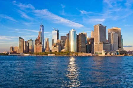 Manhattan skyline panorama at sunset , New York City