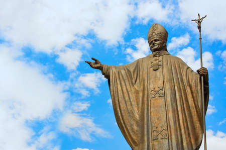 Statue of Pope John Paul II at Basilica square of Our Lady of Guadalupe in Mexico city Stock Photo
