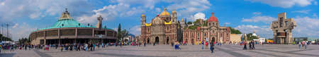 Mexico City, Mexico - December 10, 2016: Panoramic view of Basilica square of Our Lady of Guadalupe in Mexico city